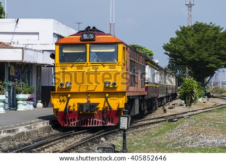 Ordinary PAssenger train - stock photo