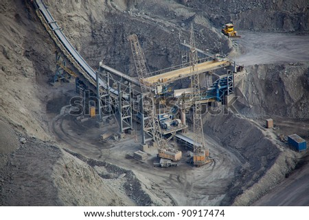 ore conveyor in open pit mining - stock photo
