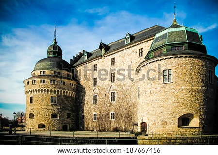 Orebro Castle in, located in Sweden, photographed in daylight. - stock photo