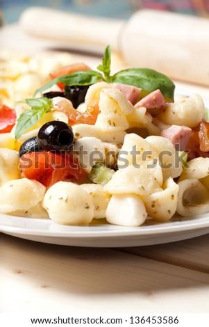 Orecchiette pasta, Caprese - stock photo