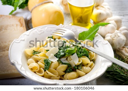 orecchiette with turnip top typical italian recipe - stock photo