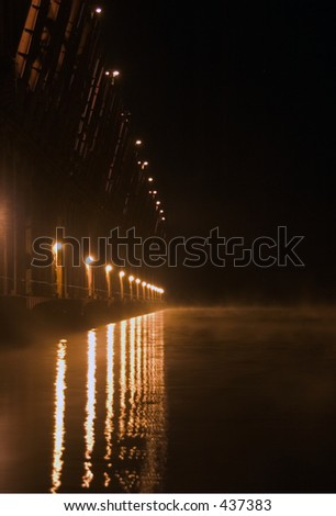 Oredocks in Marquette, MI at night - stock photo