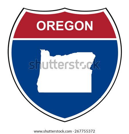 Oregon American interstate highway road shield isolated on a white background. - stock photo