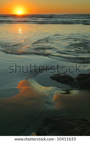 Oregon coast sunset - stock photo