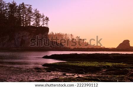 Oregon Coast Sunset, USA - stock photo