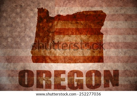 oregon map on a vintage american flag background - stock photo
