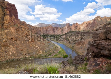 Oregon-Near Redmond-Smith Rock State Park.  This area is one of the most famous rock climbing areas in the world. - stock photo