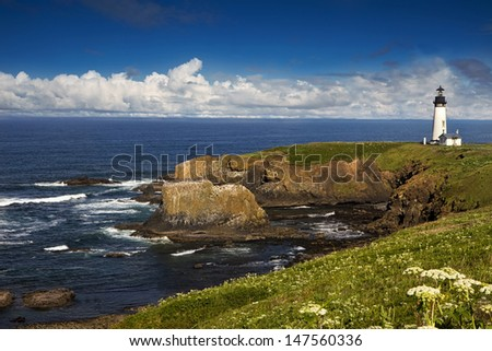 Oregon's Yaquina Head Lighthouse - stock photo