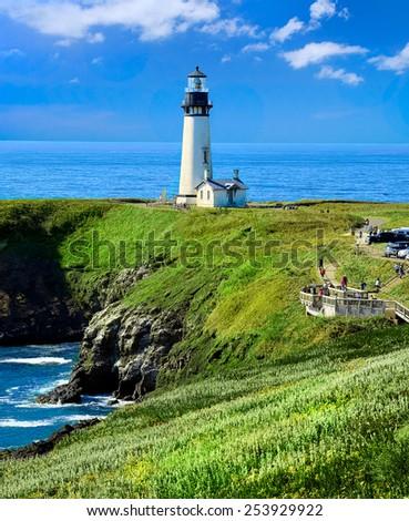 Oregon's Yaquina Head Lighthouse, Oregon Travel Landscape, Tourism USA - stock photo
