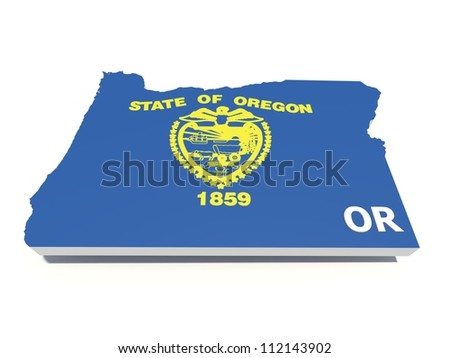 oregon state flag on 3D map - stock photo