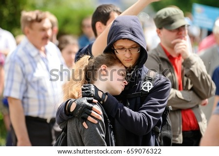 Orel, Russia, June 12, 2017: Russia protests. Young protesters hugging