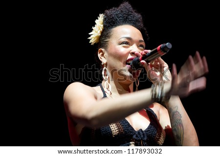 "OREL, RUSSIA - NOVEMBER 04: Maya Azucena performs at the ""Jazz Province XVII"" on November 04, 2012 in Orel, Russia"