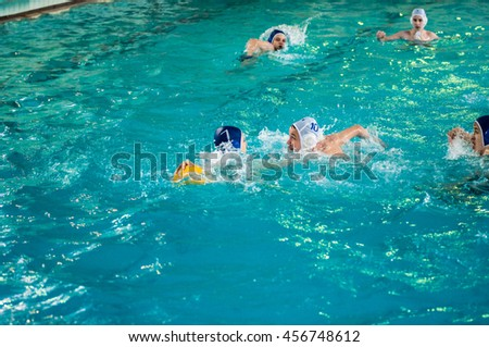 Orenburg, Russia - 6 May 2015: The boys play in water polo on City tournament