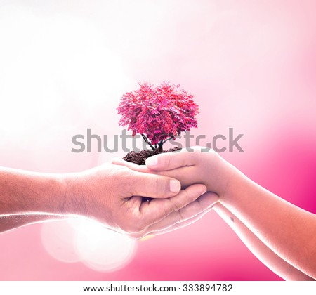 Organ Donation concept. Pink Red Help Save New Life Style Date Time Father Son Happy Take Care Unity Earth Hour CSR Trust Peace Synergy Press Freedom Family Many Medical Business Support Ecology. - stock photo