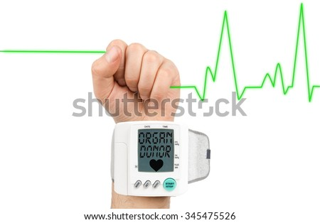 Organ donor on blood pressure monitor