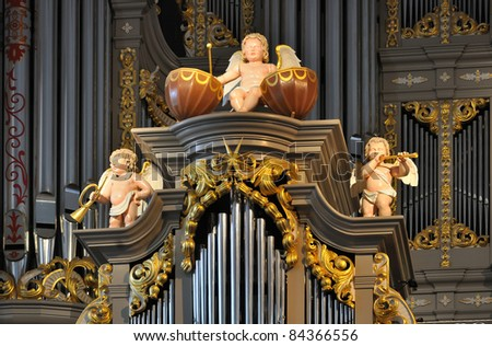 Organ, fragment. Cathedral on Kant's Island, Kaliningrad, Russia