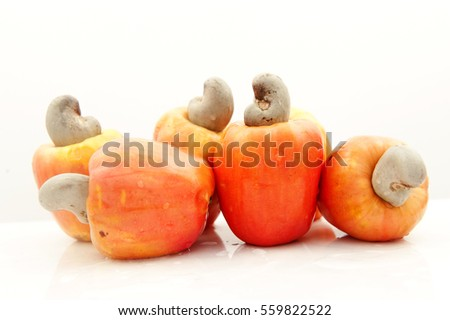 Organic and fresh cashew fruit