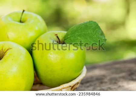 Organic apples in basket in summer grass. Fresh apples in nature - stock photo