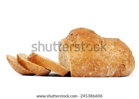 Organic bread with seeds isolated on white background - stock photo