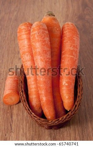 Organic Carrot  on wooden table