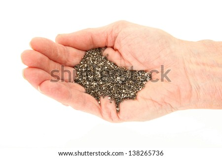 Organic Chia Seeds In Palm Of Hand Isolated On White - stock photo
