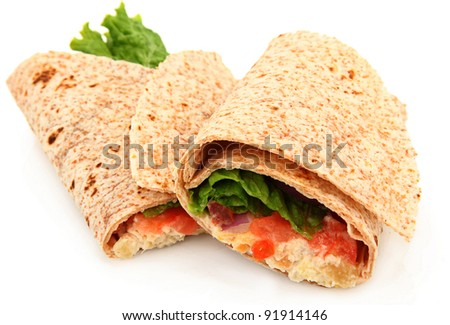 Organic Chicken Salad Wrap Over White Background - stock photo