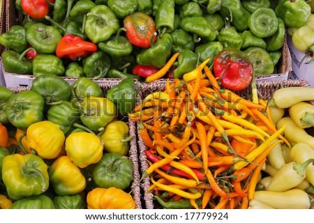 Organic chili pepper assortment at farmer's market - stock photo