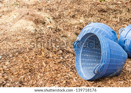 Organic Compost with blue trash basket - stock photo