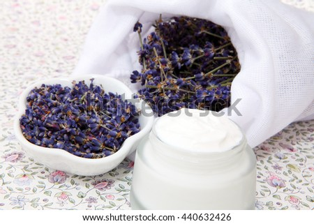 Organic cosmetics with lavender - stock photo