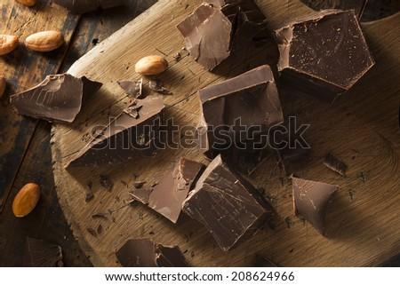 Organic Dark Chocolate Chunks Ready for Baking - stock photo