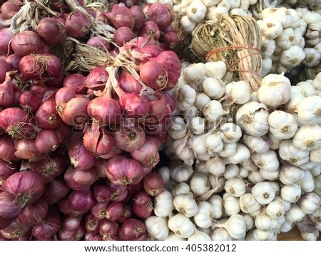 Organic dried garlic and shallots in a group background - stock photo