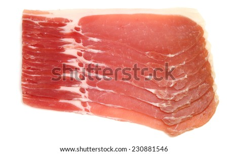 Organic dry cured back bacon rashers. - stock photo
