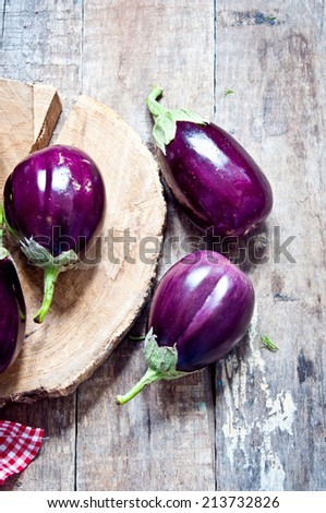 Organic eggplants - stock photo