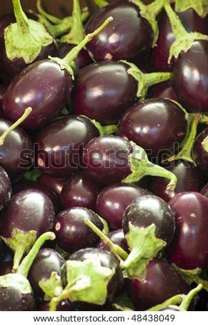 Organic Eggplants on Display at Market - stock photo