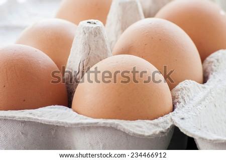 Organic eggs from pasture-raised chickens.  - stock photo