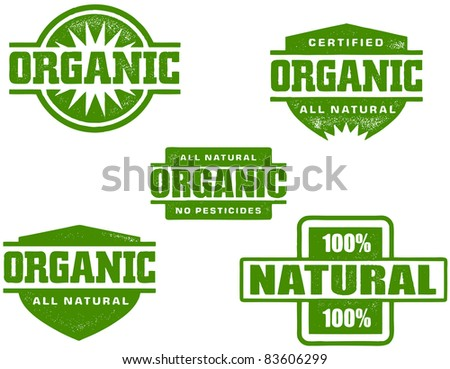 Organic Food and Produce Stamps - stock photo