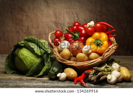 organic food background Vegetables in the basket - stock photo