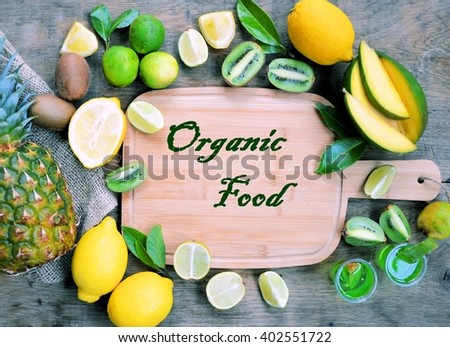 organic food ,frame of food ingredients - stock photo