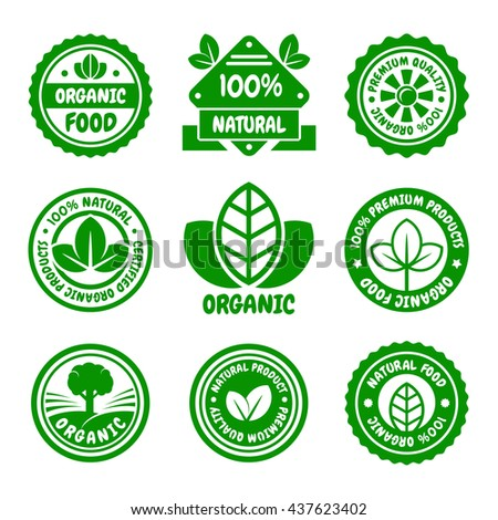 Organic Food Green Labels Set. illustration