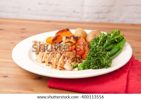 organic free range chicken roasted with vegetables and gravy