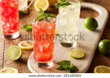 Organic Fresh Italian Soda with Green Mint - stock photo