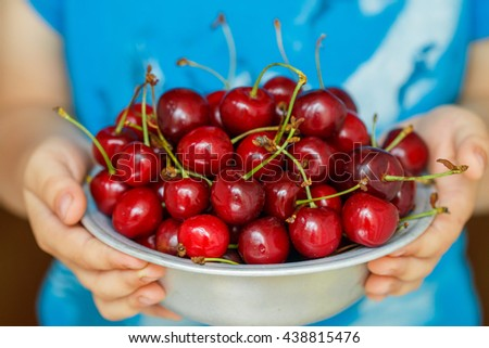 Organic fresh juicy cherries. Selective focus - stock photo