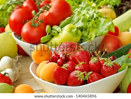 Organic fruits and vegetables - fresh food - stock photo