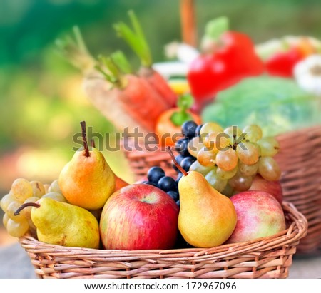 Organic fruits in wicker basket