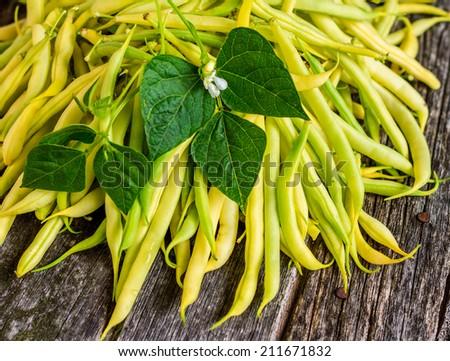 Organic Garden Fresh Yellow Beans on Rustic Wood - stock photo