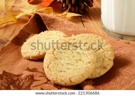 Organic, gluten free sugar cookies with milk on a holiday table - stock photo