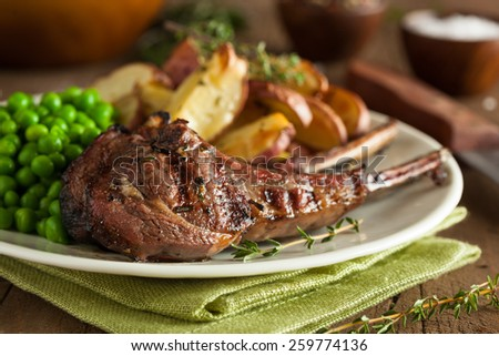 Organic Grilled Lamb Chops with Garlic and Lime - stock photo
