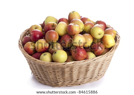 Organic harvest: basket full of apples. On white background