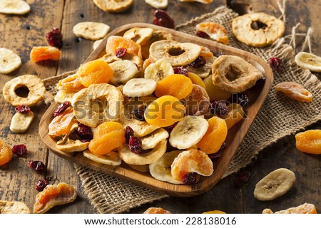 Organic Healthy Assorted Dried Fruit on a Plate - stock photo