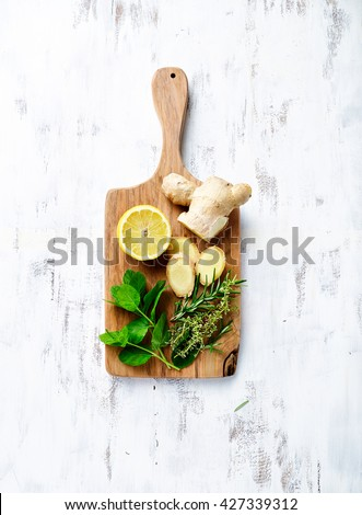 Organic Ingredients for a Detox Drink - stock photo